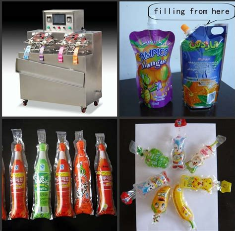 ice lolly stick juice spout bags filling sealing machine fully automatic stand  bag filler