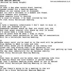 country southern and bluegrass gospel song the healing meeting lyrics