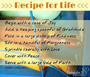 Recipe for life... Recipe Life Quotes
