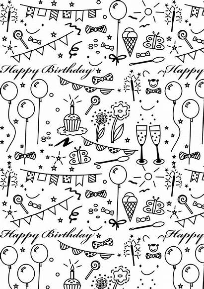 Paper Birthday Printable Coloring Party A4 Printables