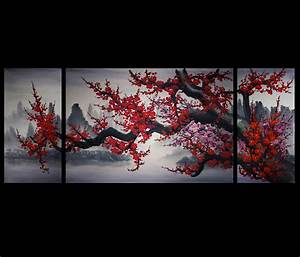 Chinese cherry blossom painting original modern wall art for Asian wall art