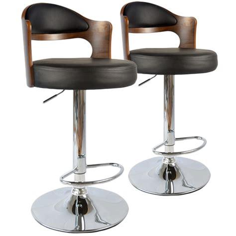 chaise de bar vintage chaises de bar vintage bois noisette noir lot de 2 pas