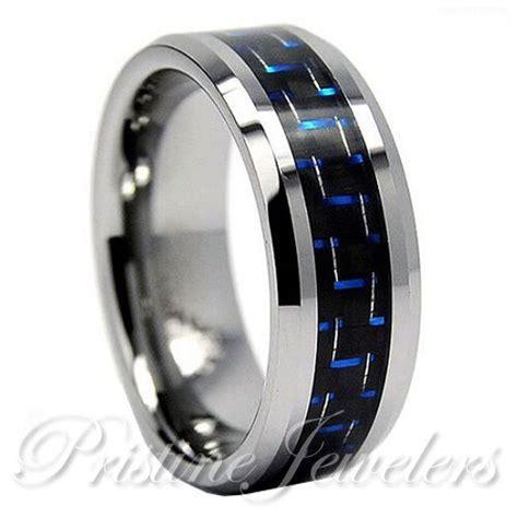 tungsten carbide blue black carbon fiber ring men