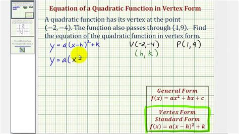 ex find the vertex form of a quadratic function given the vertex and a point youtube