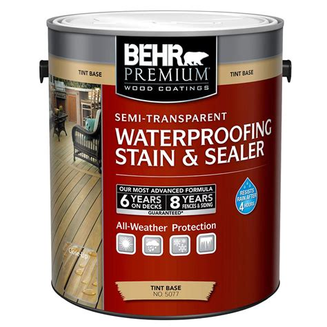 behr premium  gal semi transparent waterproofing stain