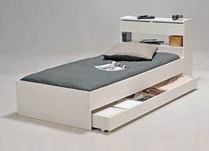 Lit Adulte Tiroir : lit adulte lit 120 190 avec tiroirs ~ Teatrodelosmanantiales.com Idées de Décoration