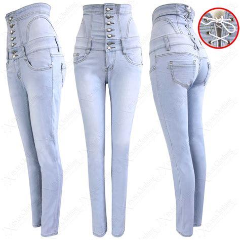 light wash high waisted skinny jeans womens ladies light blue wash high waisted corset skinny