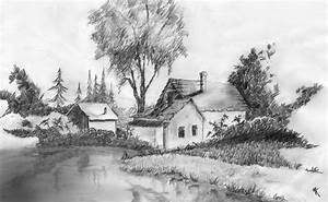 Black And White Scenery Drawings Old School ...