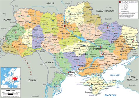 detailed political map  ukraine ezilon maps