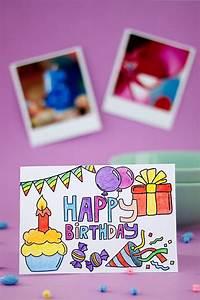 Geburtstagskarte, Zum, Ausmalen