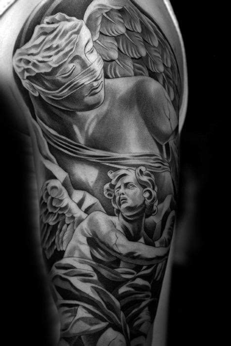 40 Angel Statue Tattoo Designs For Men - Carved Stone Ink Ideas