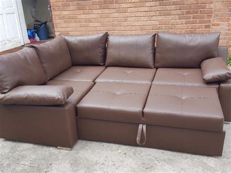 Brand New Brown Leather Corner Sofa Bed With Storage.can