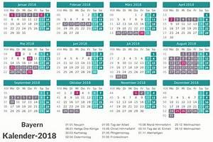 Kalender 2018 Bayern Ausdrucken, Ferien, Feiertage, Excel