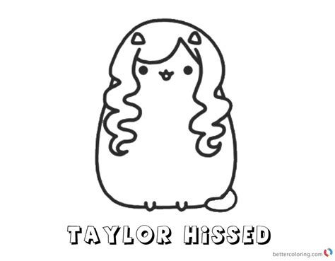 Pusheen Coloring Pages Taylor Hissed