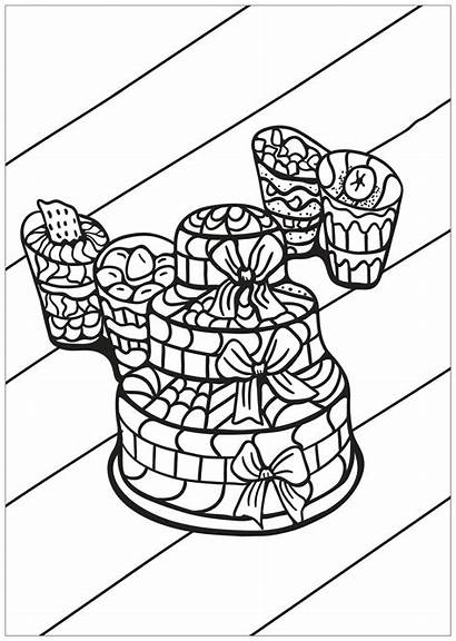 Coloring Cupcakes Cakes Pages Adults Cake Cup