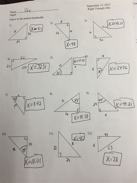 special  triangles worksheet answer key