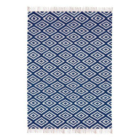 tapis en coton apache bleu marine rouge liv interior