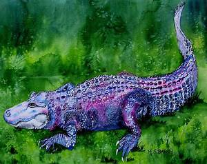 Swamp Gator Painting by Maria Barry
