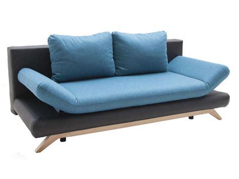 conforama canapé lit clic clac banquette lit alaska tissu bleu et pu noir vente de