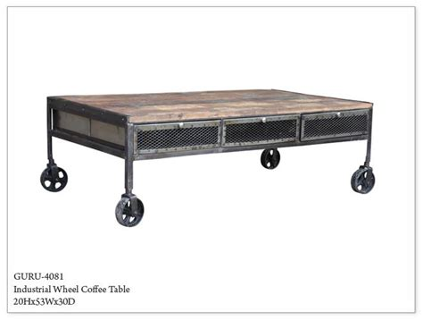 Guru Industrial Wheeled Coffee Table  Horizon Home Furniture