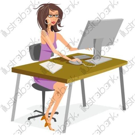 dessin humoristique travail bureau secrétaire illustration au bureau libre de droit sur