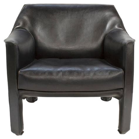 cassina leather cab black armchair by mario bellini