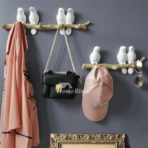 unique wall hooks bird resin whiteblue decorative key
