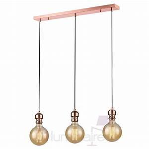 Suspension Filaire Cuivre : suspension oros cuivre barre 3 lumi res sans ampoule e27 market set ~ Teatrodelosmanantiales.com Idées de Décoration