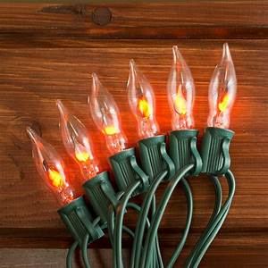 Outdoor, String, Lights, Flickering, Flame, String, Lights, 100, Outdoor, C7, Bulbs, 100, Ft, Green, Wire
