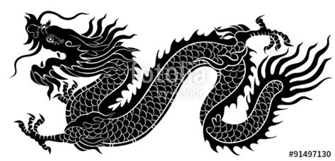 silhouette  chinese dragon crawling stock image