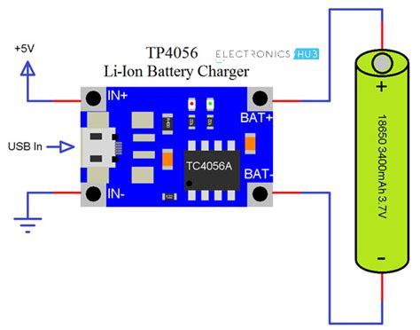 Lithium Battery Diagram by Tp4056 Lithium Ion Battery Charger Circuit 18650