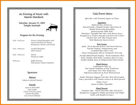 auction program template 6 sle event program gin education