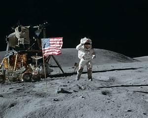 Wallpaper astronaut, space, moon, jump, flag, usa, lunar ...