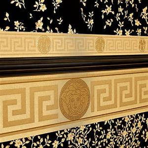 versace wallpaper border gold black luxury satin modern With markise balkon mit versace home tapete