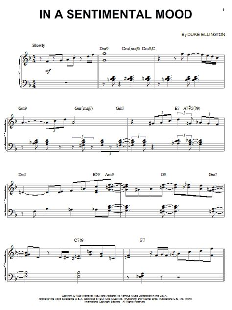 in a sentimental mood sheet music direct