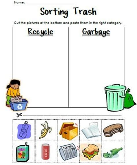 classroom freebies too sorting trash an earth day lesson