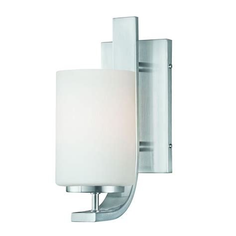 home depot sconces lighting pendenza 1 light brushed nickel wall