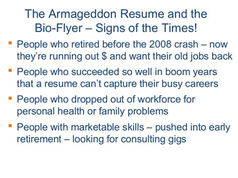 Donald Burns Resume Writer by Armageddon Resume Bio Flyer