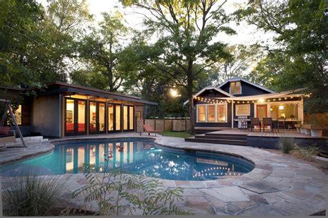 outdoor string lights pool modern  backyard bungalow