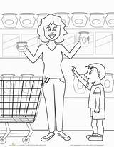 Grocery Coloring Worksheet Kindergarten Places Education Pages Worksheets Colors Preschool Printable Town Grade Community Activities Math sketch template