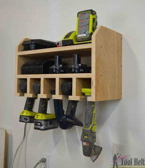 cordless drill storage charging station diy garage
