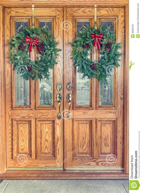 christmas wreaths  front doors stock image image