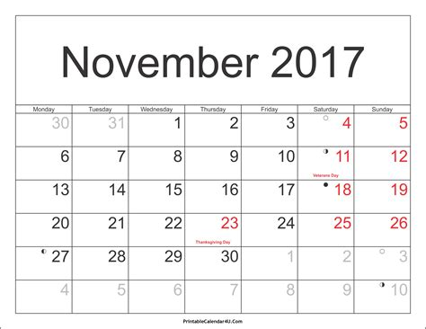 November 2017 Calendar With Holidays | monthly calendar 2017