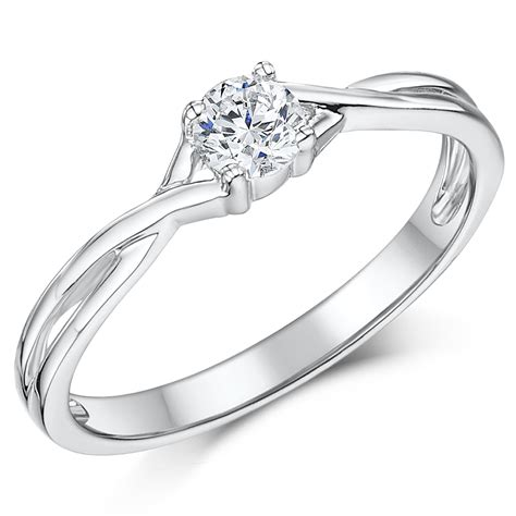 9ct white gold quarter carat twist solitaire engagement ring white gold rings at elma