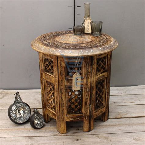 hand carved end tables medium side table with aluminium inlay indian mango wood