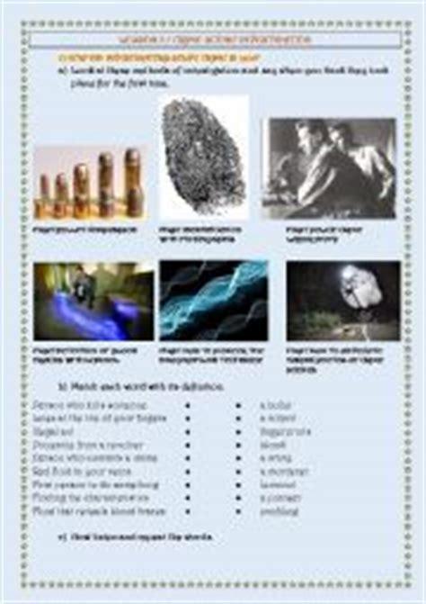 English Worksheets Crime Scene Investigation  Methods Of Investigation