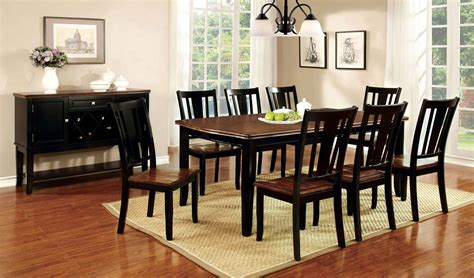 9 Piece Dover Dining Set In Black & Cherry Finish