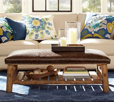 pottery barn leather ottoman caden leather rectangular ottoman pottery barn