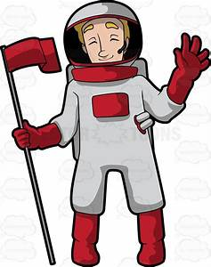 Cartoon Clipart: A Female Astronaut Holding A Pole With A ...