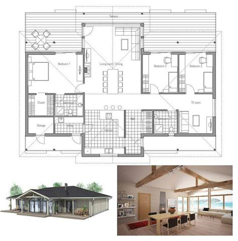 small house plan with vaulted ceiling all bedroom windows